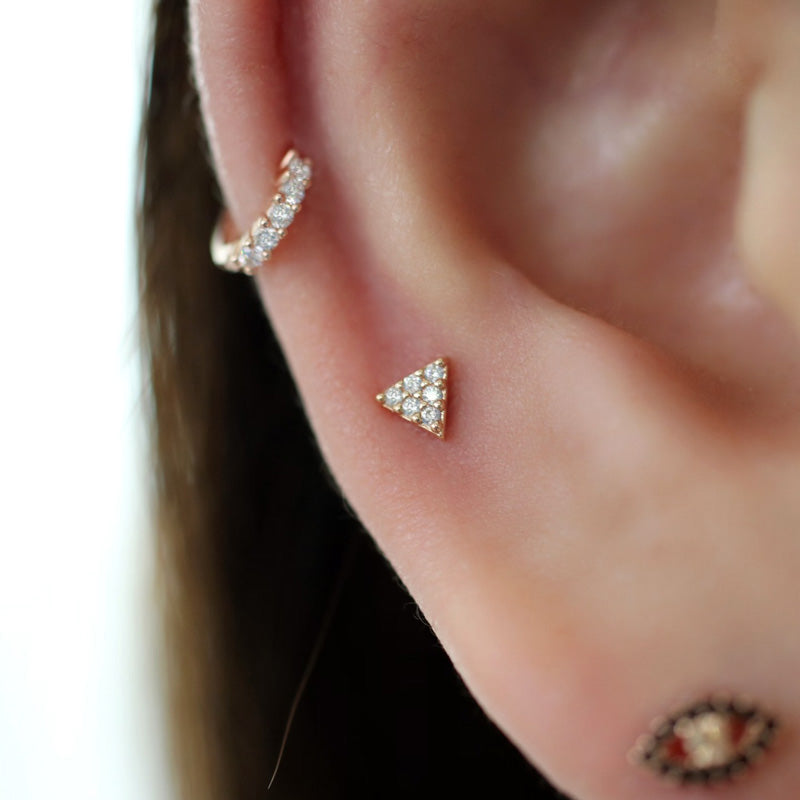 Tiny Triangle Cartilage Piercing- Sterling Silver
