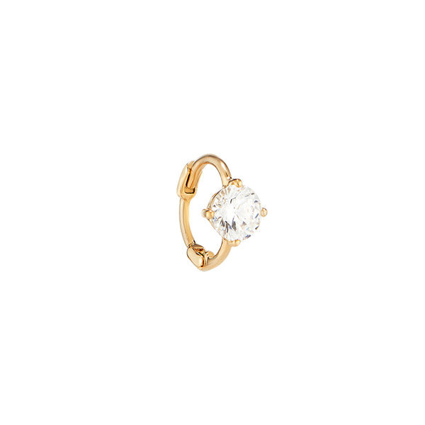 Tiny Solitaire Gem Huggie Hoop- 14K Gold