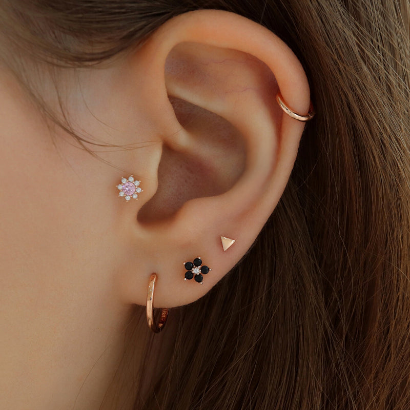 Teeny Triangle Stud Ear Piercing- 14K Gold