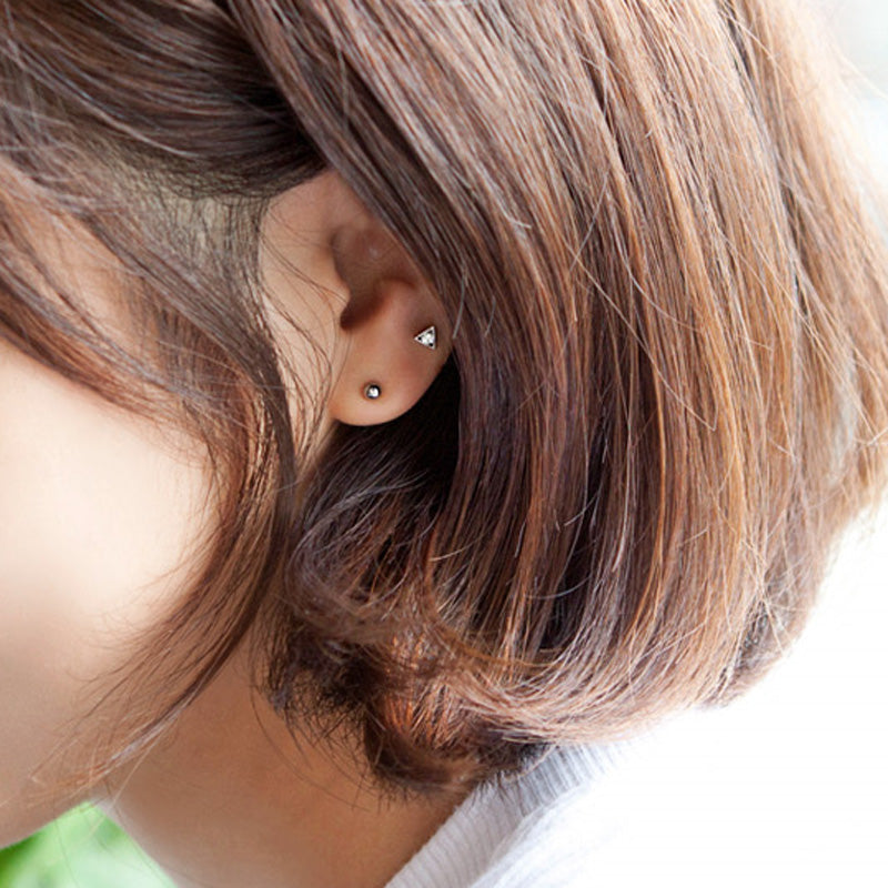 Tiny CZ Triangle Cartilage Stud Earring