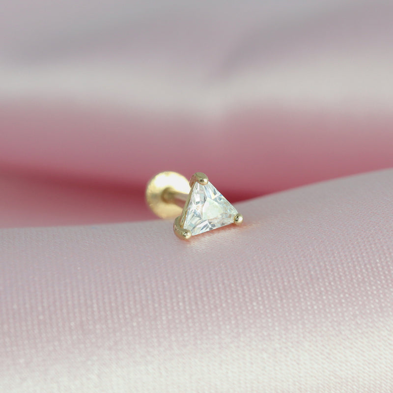 Triangle CZ Labret Piercing- 14K Gold