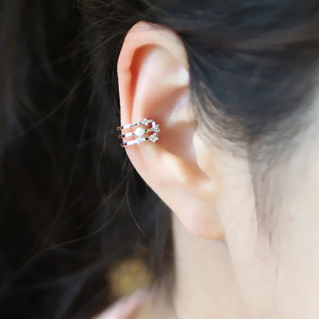 Three Band Pearl Ear Cuff