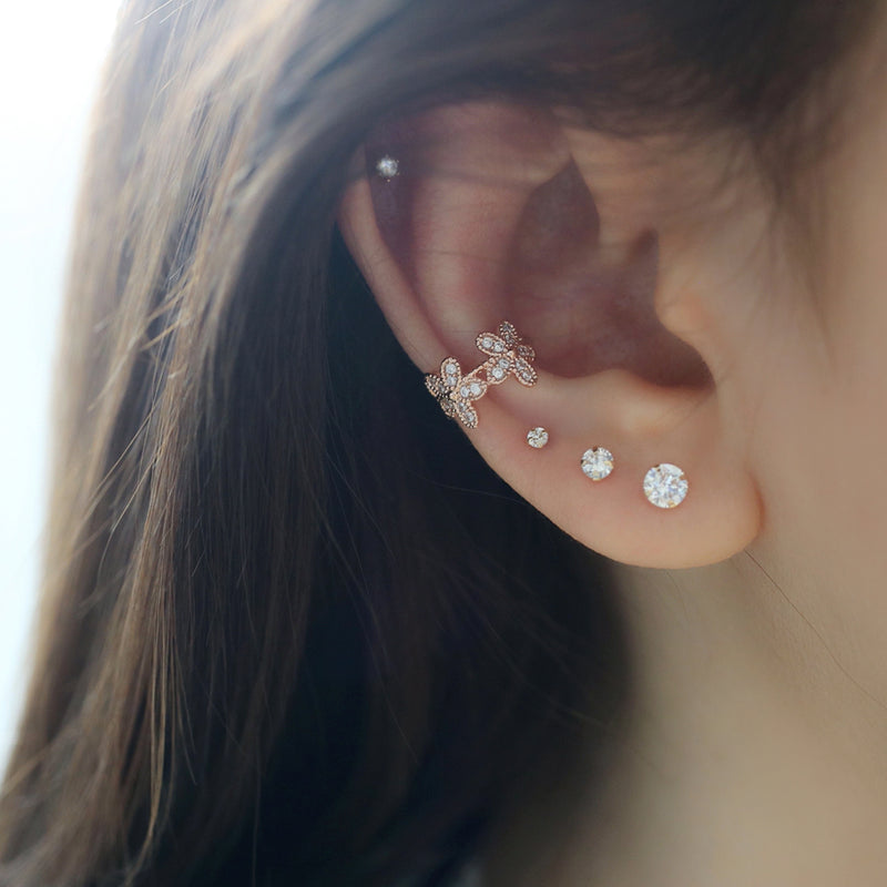dainty flower ear cuff in conch