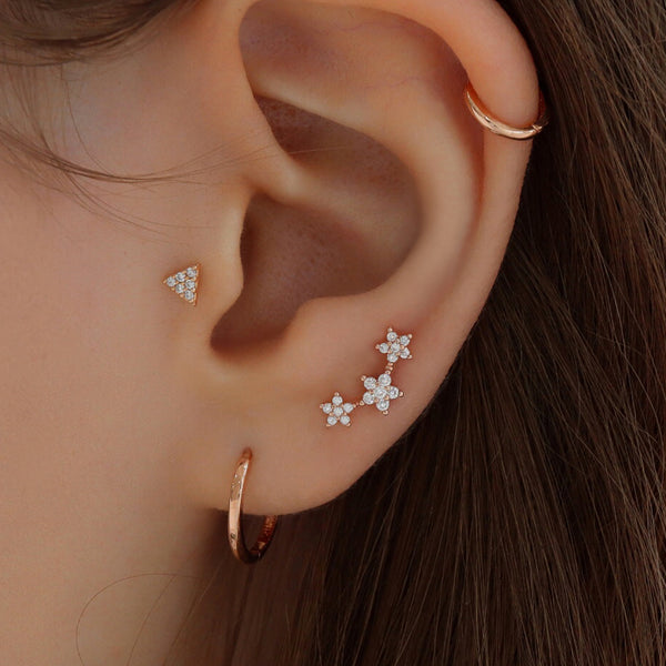 Triple Pave Flower Cartilage Piercing- Sterling Silver