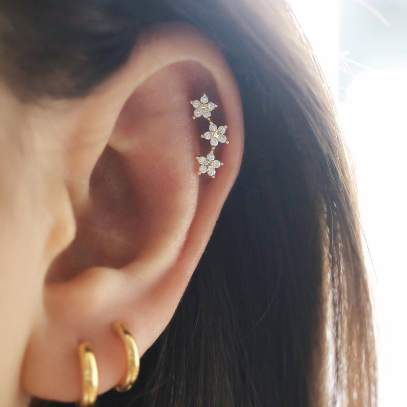 Triple Flower Helix Piercing- Sterling Silver