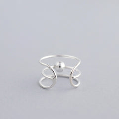 Triple Line Ball Ear Cuff- Sterling Silver