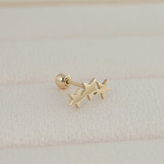 Triple Star Cartilage Piercing- 14K Gold