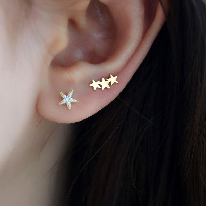 Triple Star Ear Stud- 14K Gold
