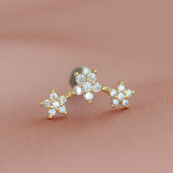 Curved Triple Flower Cartilage Earring