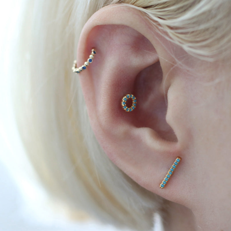 Rose Gold Turquoise Cartilage Earring