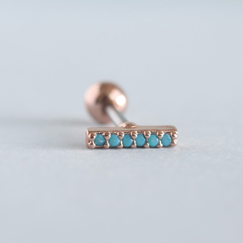 Turquoise Cartilage Stud Earring- Rose Gold
