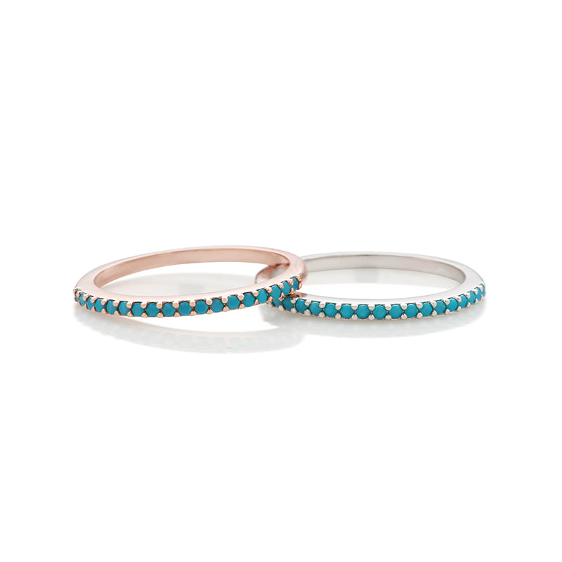Turquoise Slim Band Ring Made From Sterling Silver