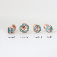 Turquoise Cartilage Stud Earrings in Rose Gold