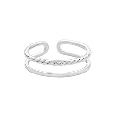 Cord Double Line Ring Made From Sterling Silver