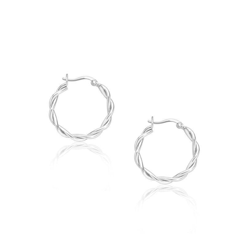 Twist Hoop Earrings- Sterling Silver