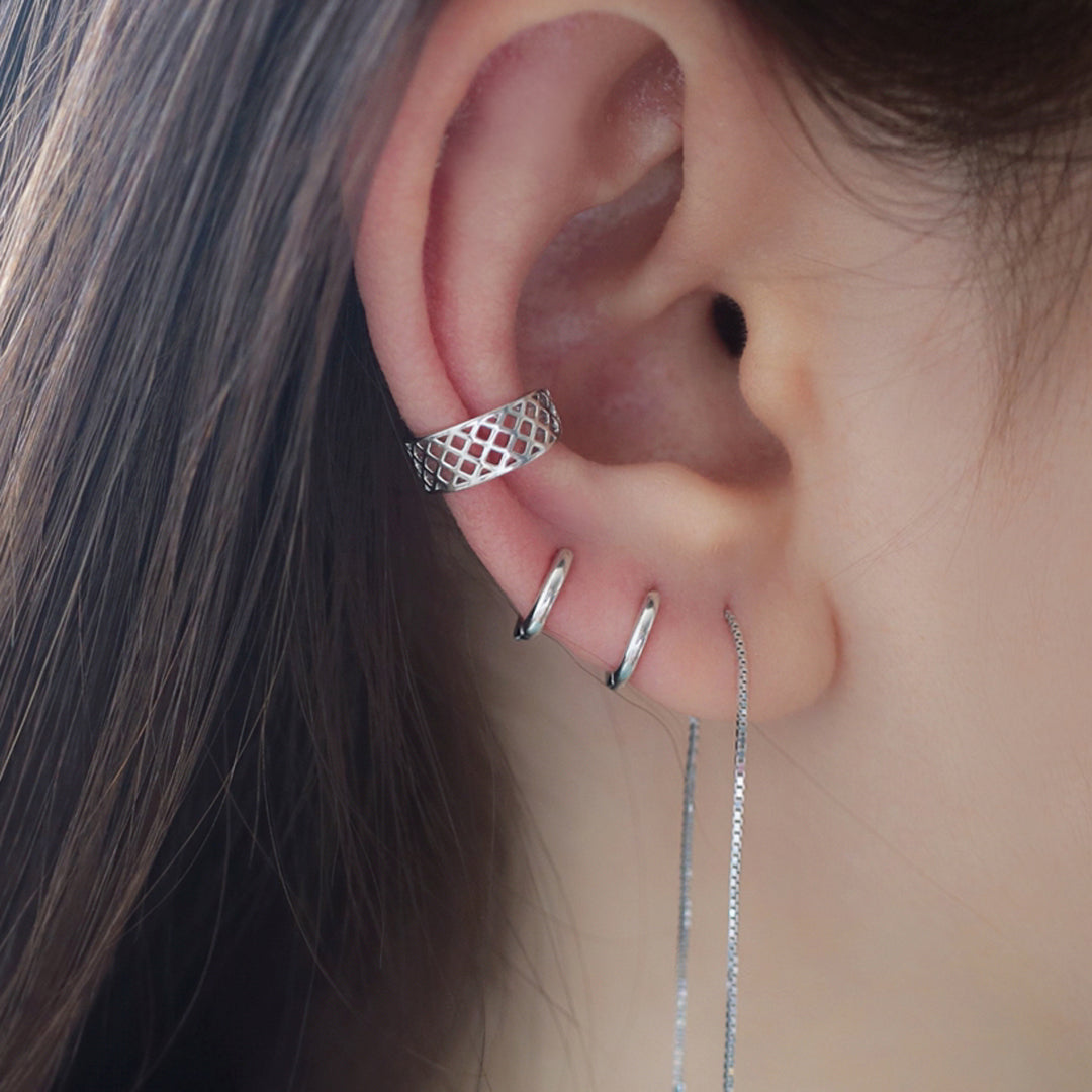 stacking cartilage earrings and ear cuff in silver