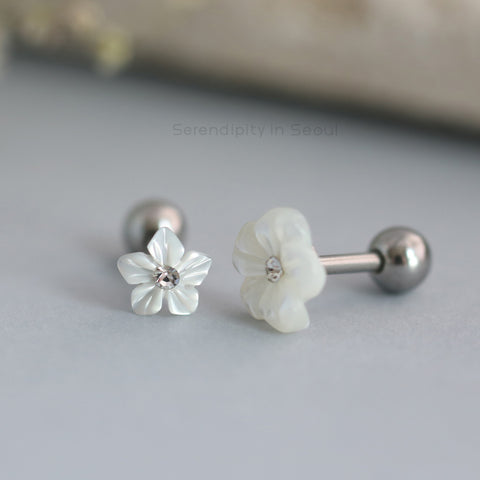 small white flower cartilage piercing with screw back ball end