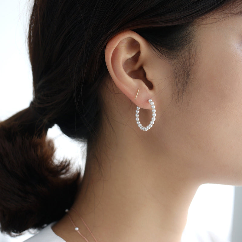 Pearl Hoop Earrings- Sterling Silver