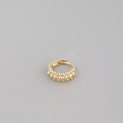 Tiny Wide Beaded Huggie Hoop- 14K Gold