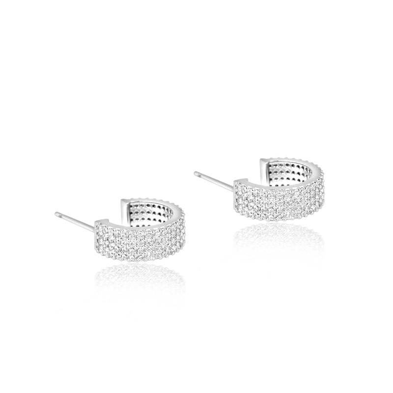 Wide Pave Open Hoops- Sterling Silver