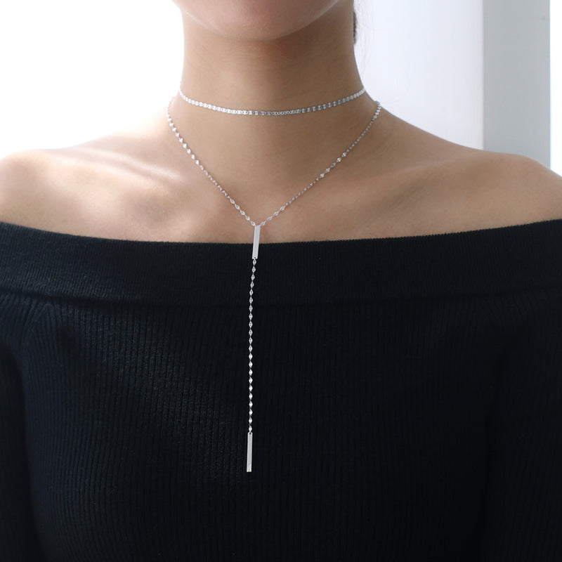 Bar Y Lariat Necklace- Sterling Silver