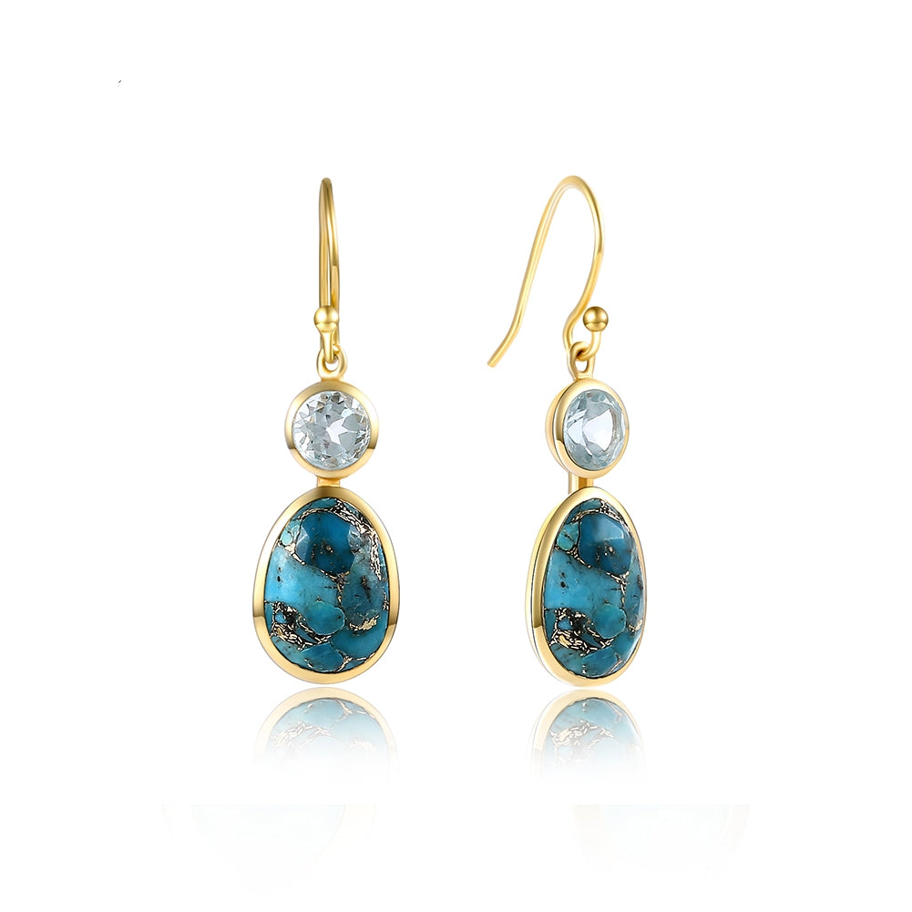 stone topaz precious semi rhodium natural dangle blue silver stones earrings drop sterling earring