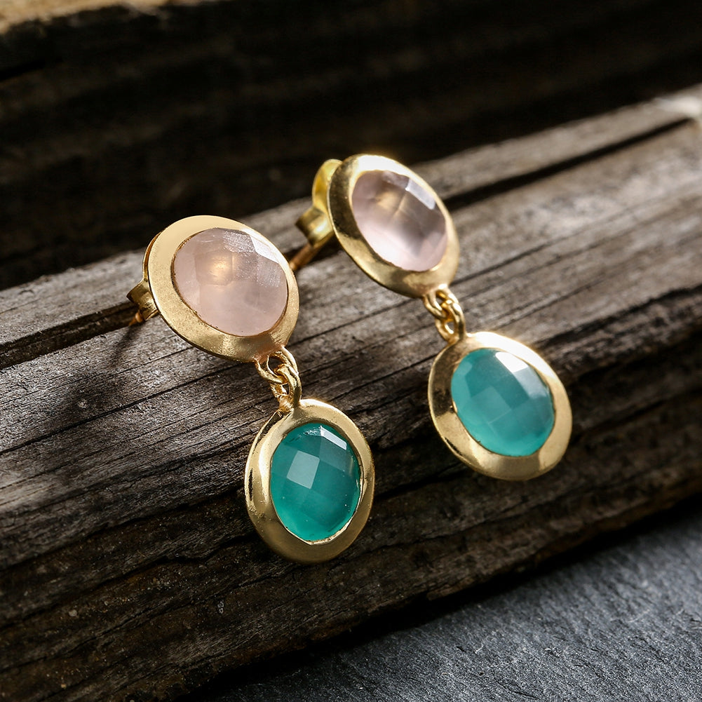green drop stone beads natural making earbob jewelry in retro style popular chalcedony girls ladies gifts eardrop earrings emerald item from women