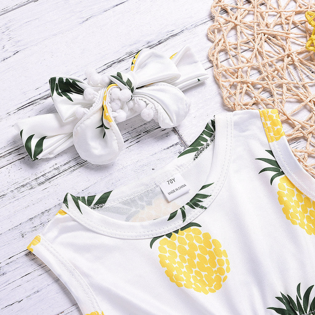 Baby Girl Pineapple White Romper with Pompoms + Headband Set