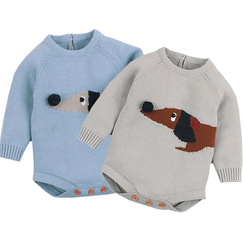 Baby Boy Vintage Style Cute Dog Knitted Bodysuit