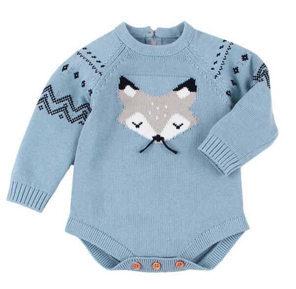 Baby Boy Vintage Style Cute Fox Knitted Bodysuit