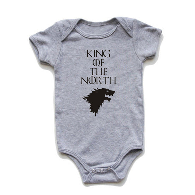 "Baby Boy Printed Game of Thrones Bodysuit ""King of The North"""