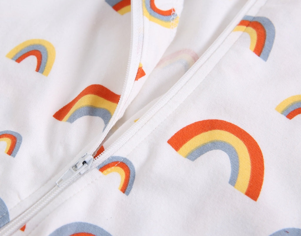Unisex Rainbow White Zipped Romper