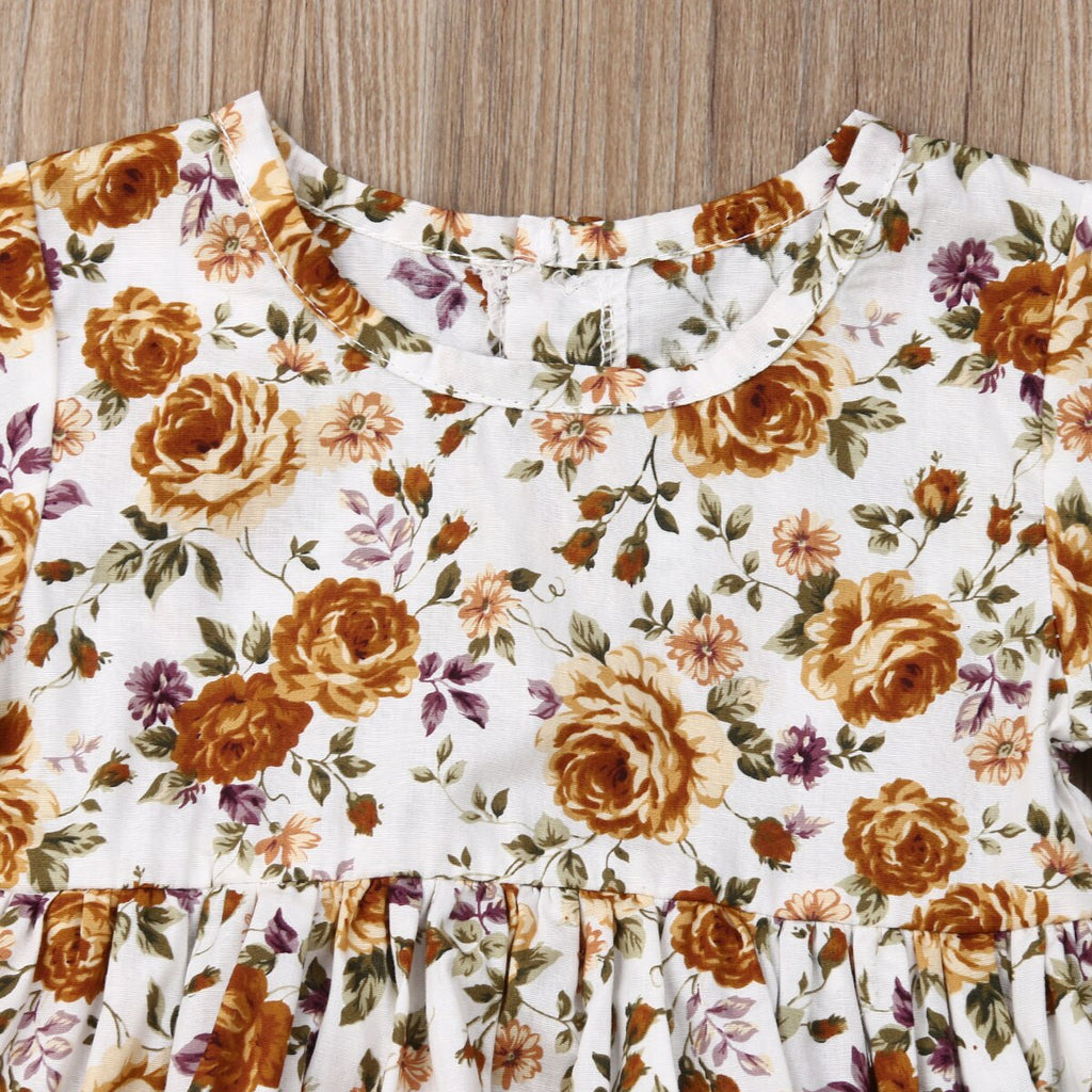 Baby Girl Summer Romper with Yellow Roses Print