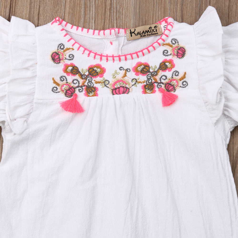 Baby Girl Summer Romper with Ruffled Sleeves and Floral Embroidery