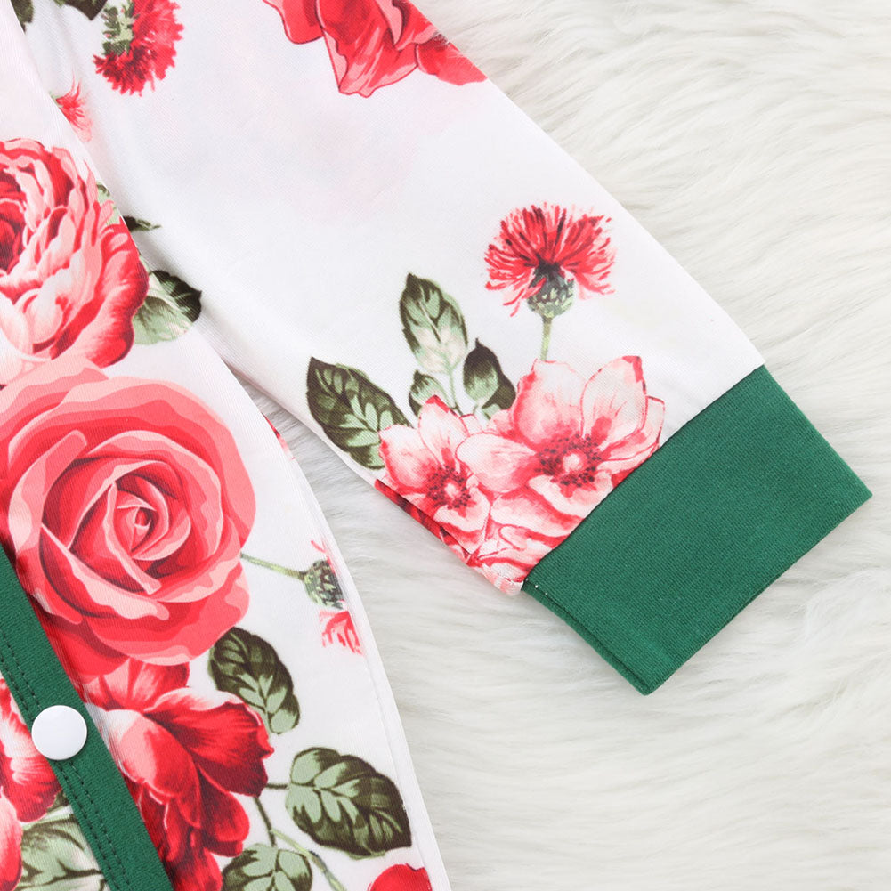 Baby Girl White Romper with Red Peonies Print and Green Details + Headband Set