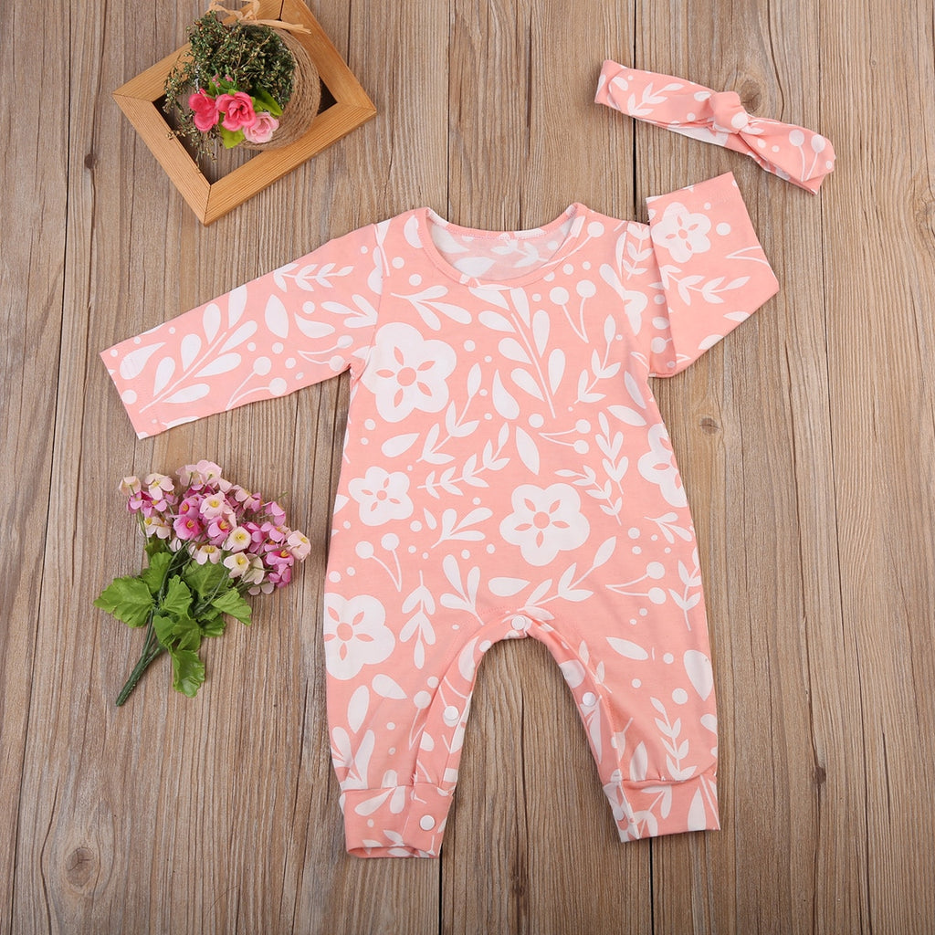 Baby Girl Light Pink Romper with Floral Print + Headband Set