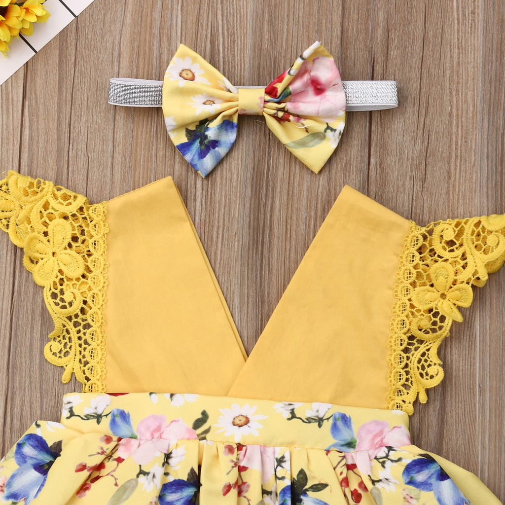 Baby Girl Yellow Floral Dress + Headband Set
