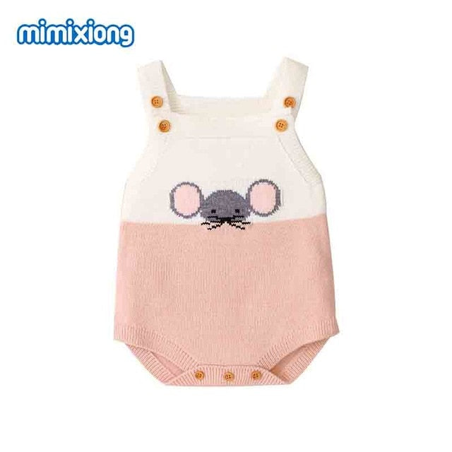 Baby Girl Vintage Style Little Mouse Knitted Romper