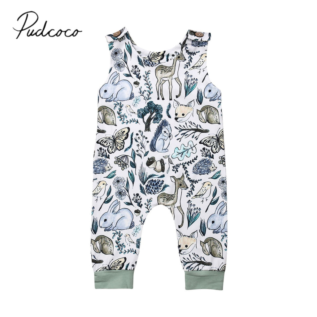 Baby Girl Fall Animals Romper