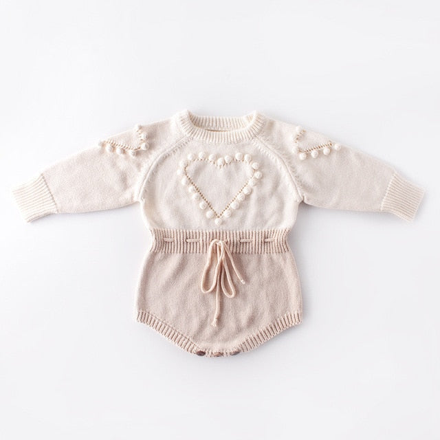 Baby Girl Vintage Style Pink Knitted Romper with Heart