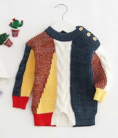 Baby Boy Vintage Style Colorful Knitted Sweater