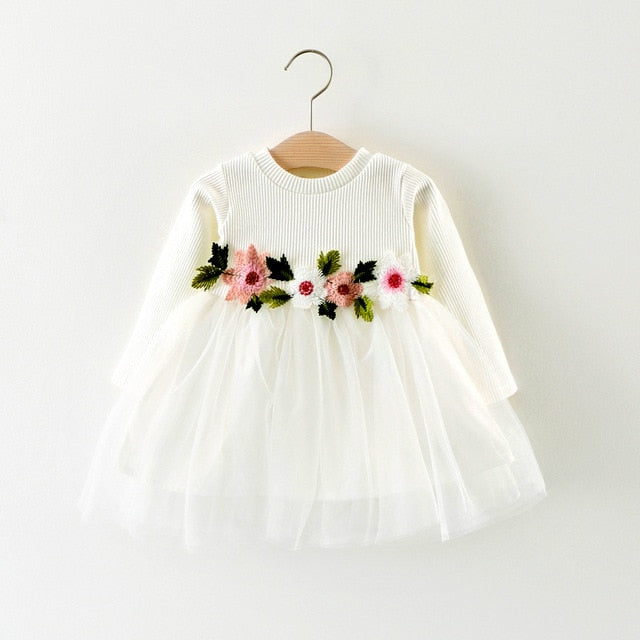 Baby Girl Dress with Floral Applique and Tulle Skirt