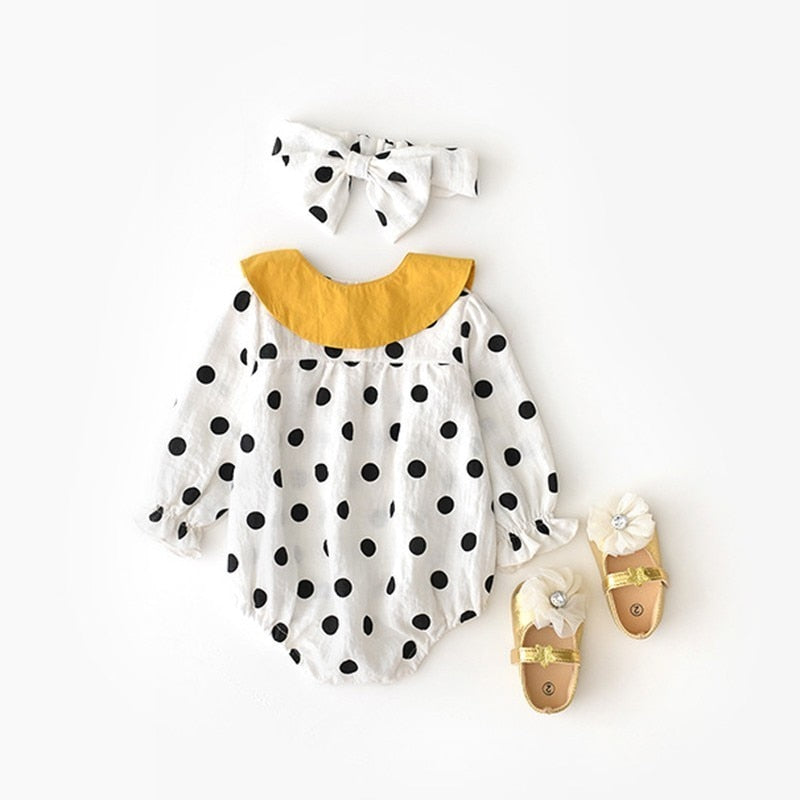 Baby Girl Black & White Dots Romper With Yellow Collar + Headband Set