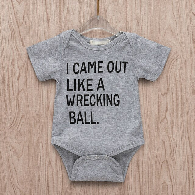 "Unisex Printed Funny Bodysuit ""I Came Out Like A Wrecking Ball"""
