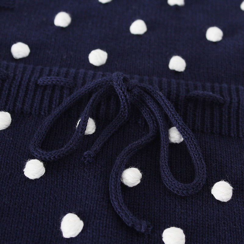 Baby Girl Vintage Style Knitted Romper with Dots