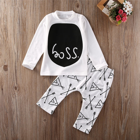 "Baby Boy ""Boss"" Black and White Shirt + Pants Set"