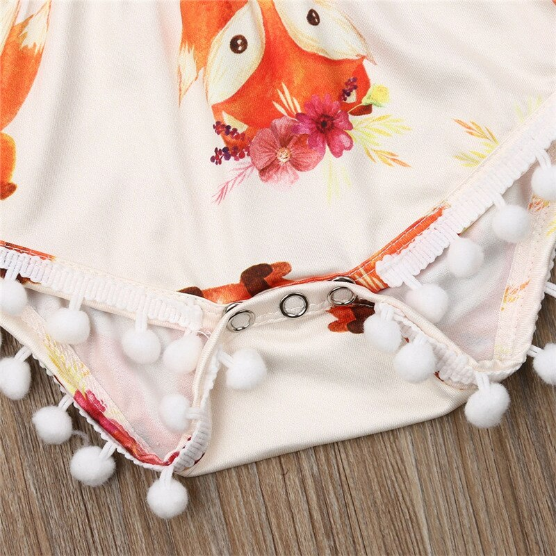 Baby Girl Fox Romper with Pompoms