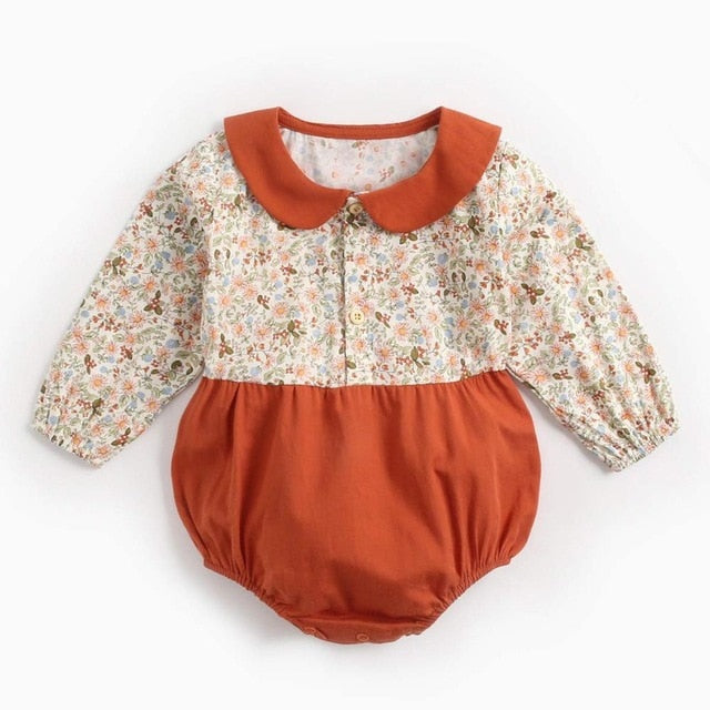 Baby Girl Long Sleeved Romper with Collar and Liberty Print
