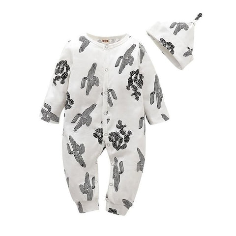 Unisex Black & White Cactus Romper + Hat Set
