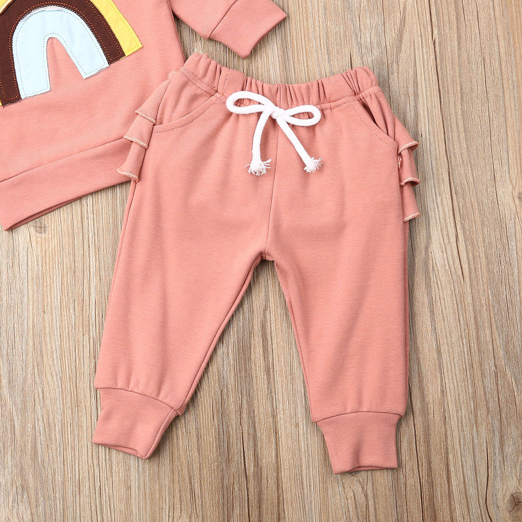 Baby Girl Pink Sweater + Ruffled Pants Rainbow Set